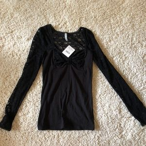 Free People Black Lace Long Sleeve Top- Tags on